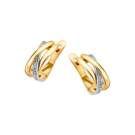 Excellent Jewelry Bicolor Creolen met Meerdere Stroken en Briljanten