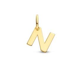 Letter N Hanger in massief 14 Karaat Goud