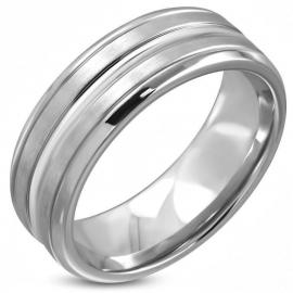 Edelstalen Ring met Groeven - Graveer Ring