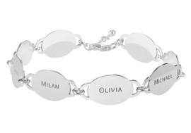 Names4ever Zilveren Armband met Acht Ovaaltjes met Naam ZNA69