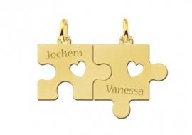 Gedeelde Gouden Puzzelstuk Naam Ketting Names4ever