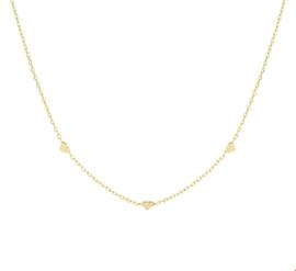 Zilveren Anker Collier met Gouden Laagje en Drie Hartjes