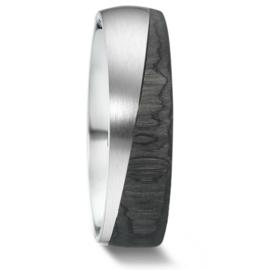 Carbon met Zilveren Heren Trouwring