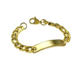 Robuuste Goudkleurige Graveer Armband van Edelstaal