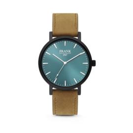 Zwart Horloge van Frank 1967 met Blauwe Wijzerplaat en Bruine Horlogeband