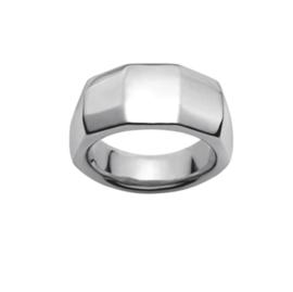 Gehoekte Zilverkleurige Ring van Edelstaal van M&M