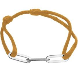 Caramel Gevlochten Armband met Zilveren Schakels