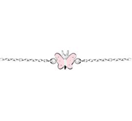 Kinderarmband met Roze Vlinder Hanger