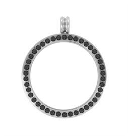 LOCKits Zilverkleurige Munthanger met Zwarte Zirkonia's