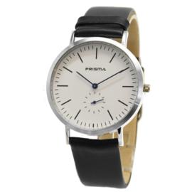 Design Staal Prisma Heren Horloge met Zwart Lederen Horlogeband