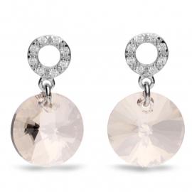 Xilion Disc Witte Swarovski Oorbellen van Spark Jewelry