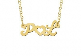 Names4ever Vergulde Initialen Naamketting met Hart