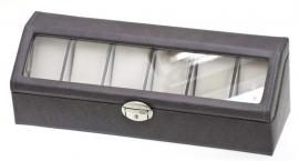 Horlogebox donkergrijs + Glasdeksel