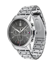 Tommy Hilfiger Robuust Zilverkleurig Horloge met Grijze Wijzerplaat