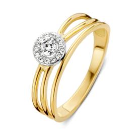 Excellent Jewelry Geelgouden Lijnen Ring met Zirkonia Kopstuk
