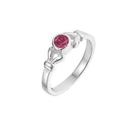 Zilveren Ring voor Kinderen met Decoratief Kopstuk met Roze Strass Steen
