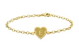Gouden Names4ever Armband met Hartvormige Letterhanger