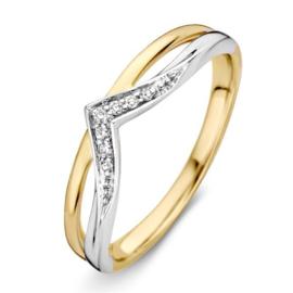 Excellent Jewelry Bicolor Diamant Ring met V-vorm