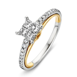 Excellent Jewelry Bicolor Ring met Meerdere Briljanten