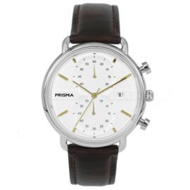 Modern Heren Horloge van Edelstaal met Lederen Horlogeband en Goudkleurige Wijzers