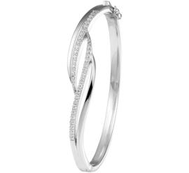 Scharnier Bangle armband van Zilver met Zirkonia's