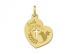Names4ever Gouden Communie Hart Hanger met Kruis