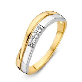 Excellent Jewelry Bicolor Ring met Drie Glinsterende Zirkonia's