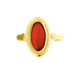 Vintage Gouden Ring met Ovaalvormige Bloedkoraal Steen