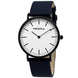 Slimline Zwart Unisex Horloge met Blauwe Horlogeband