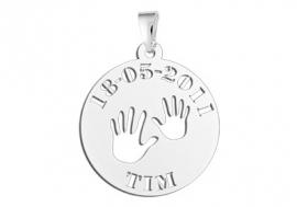 Names4ever Handjes Zilveren Babyhanger met Naam en Datum