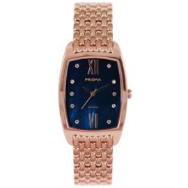 Roségoudkleurig Dames Horloge met Blauwe Wijzerplaat