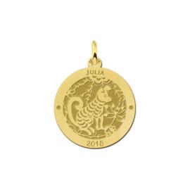 Ronde Chinese Sterrenbeeld Hond Hanger van Goud
