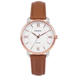 Prisma Roségoudkleurig Dames Horloge met Bruin Lederen Horlogeband
