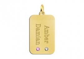 Gouden Dog Tag met Twee Geboortestenen Names4ever