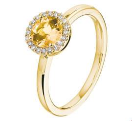 Geelgouden Ring met Diamanten en Citrien Edelsteen