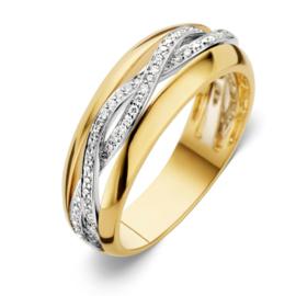 Excellent Jewelry Geelgouden Ring met Twist Witgouden Strook