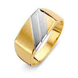 Excellent Jewelry Geelgouden Heren Ring met Diagonale Witgouden Strook