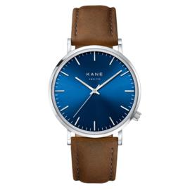 Zilverkleurig KANE Horloge met Bruine Lederen Horlogeband