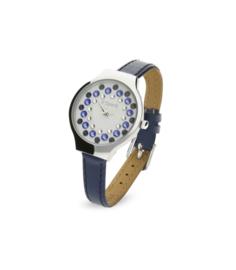 Spark Horloge met Blauw Lederen Horlogeband