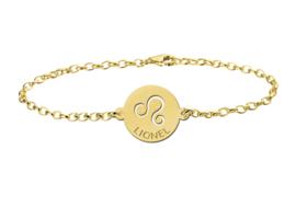 Gouden Armband met Ronde Leeuw Sterrenbeeld Naamhanger > Names4ever