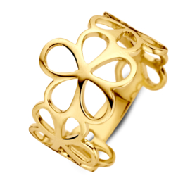 Excellent Jewelry Geelgouden Ring met Opengewerkte Bloemvormen