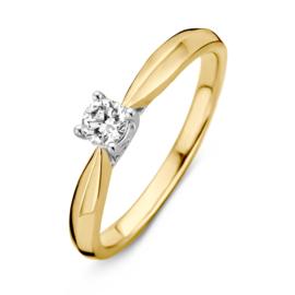 Excellent Jewelry Bicolor Ring met Vernauwing en 0,24 crt. Briljant