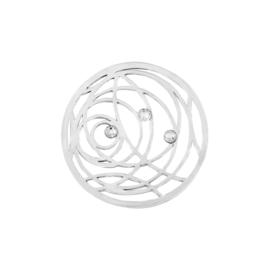Decoratieve Zilveren Cirkel Munt met Zirkonia's van MY iMenso