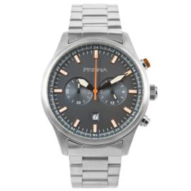 Edelstalen Chronograaf Prisma Heren Horloge met Blauwe Wijzerplaat