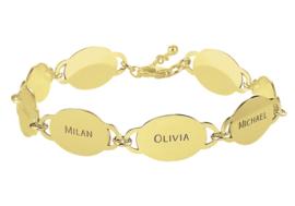 Names4ever Gouden Armband met Acht Rondjes met Naam GNA69