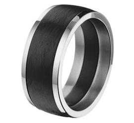 Carbon Ring met Glanzende Edelstalen Randen