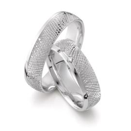 Creatief Bewerkte Zilveren Trouwringen Set met Diamant