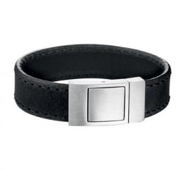 Zwart Lederen Armband voor Heren + Logo + Tekst