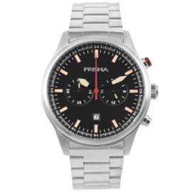 Edelstalen Chronograaf Heren Horloge met Zwarte Wijzerplaat
