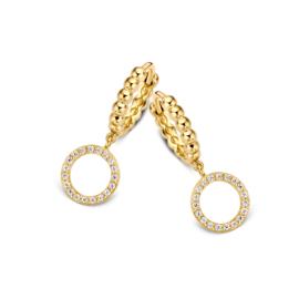 Excellent Jewelry Geelgouden Creolen met Opengewerkte Zirkonia Cirkel